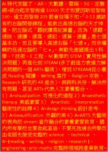 STEM(科學及技術與工程及數學)進化到STEAM再到STREAM(ARTS與READING及WRITING)